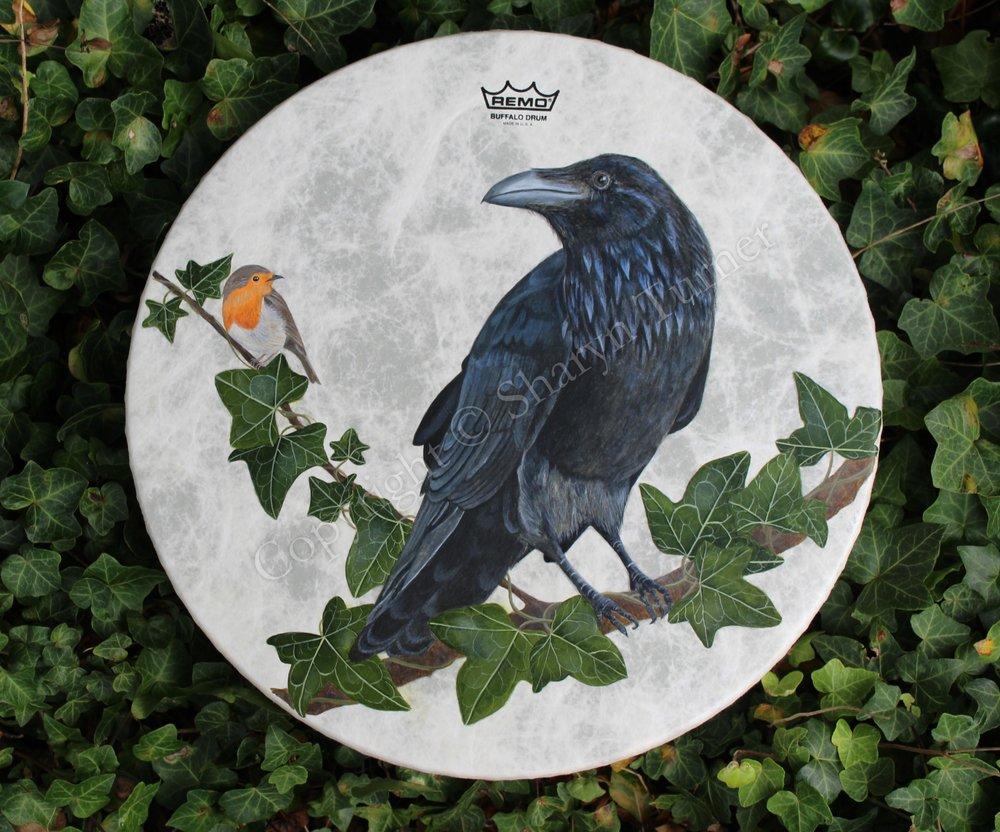 Raven & Robin Drum - Acrylic on Fibreskyn © Sharyn Turner 2017