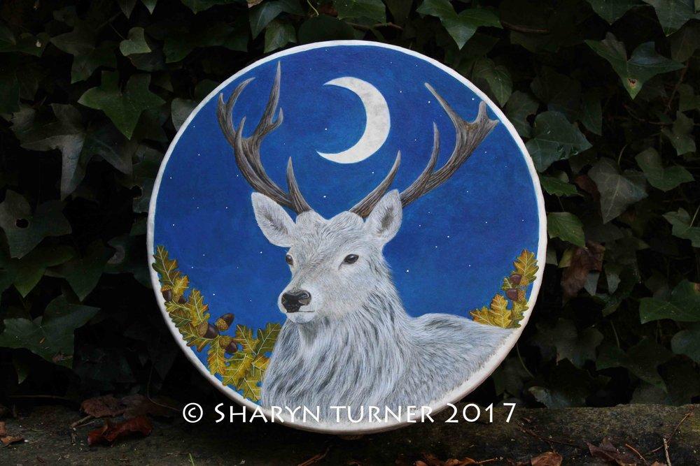 White Stag Fae Drum - Acrylic on Fibreskyn © Sharyn Turner