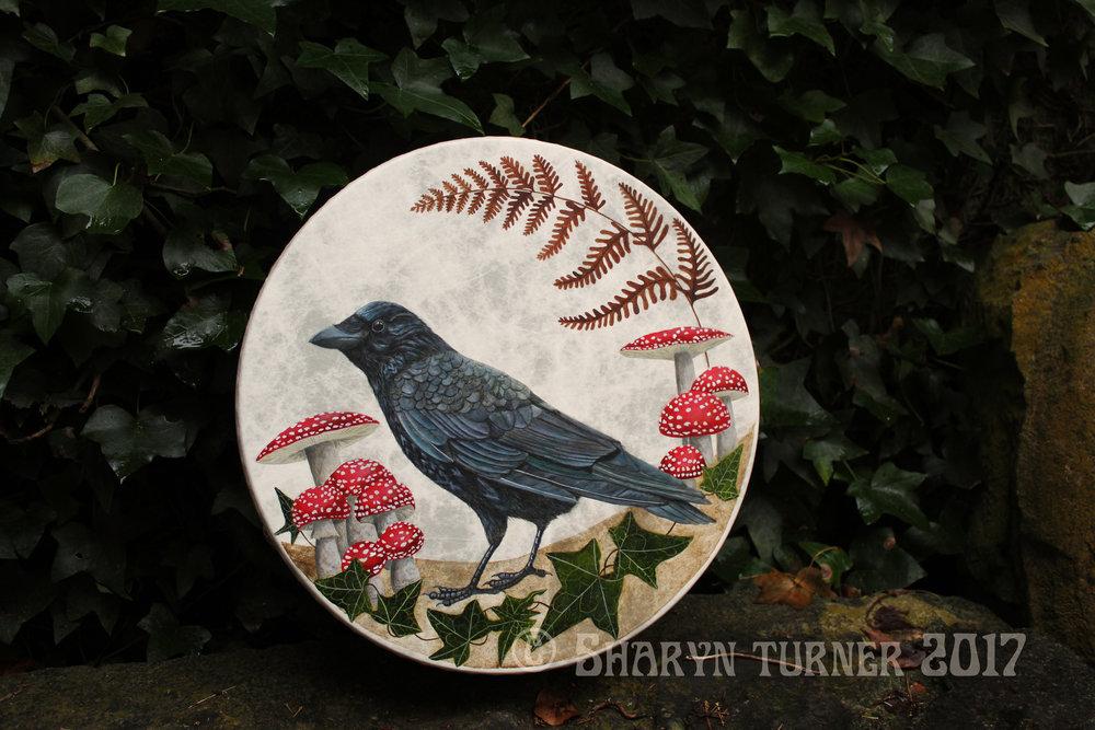 Crow & Fly Agaric Drum - Acrylic on fibreskyn © Sharyn Turner 2017