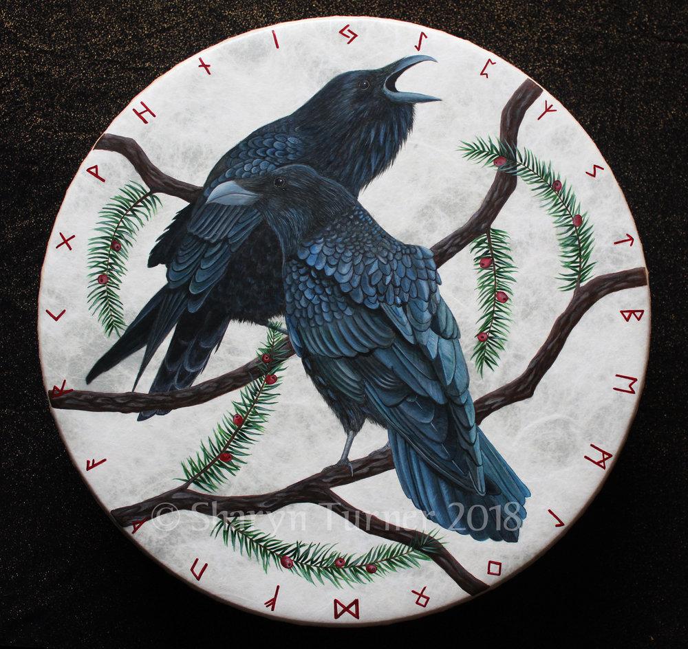 Odin's Ravens Rune Drum - Acrylic on Fiberskyn © Sharyn Turner 2018