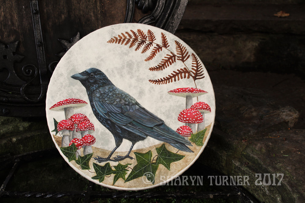 Crow and Fly Agaric Drum