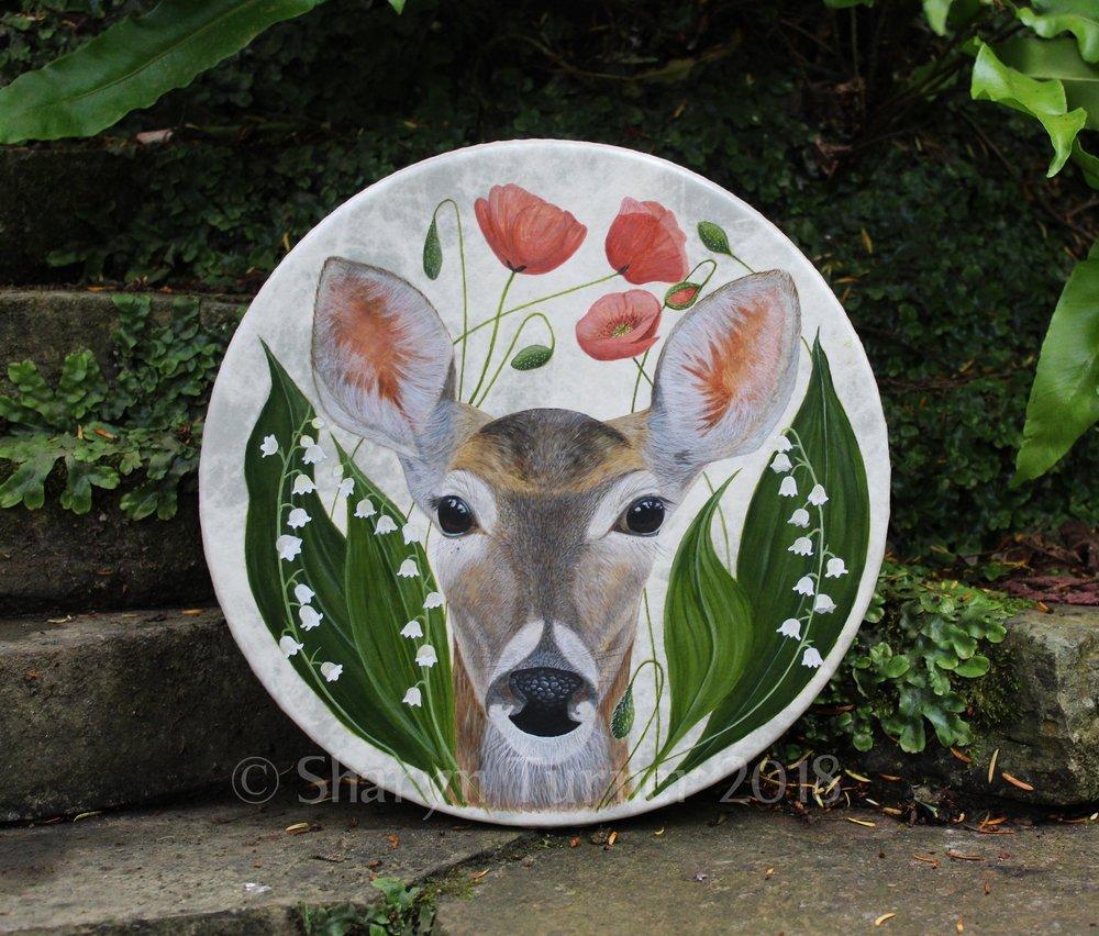 Whitetail Doe Drum - Acrylic on Fibreskyn © Sharyn Turner 2018