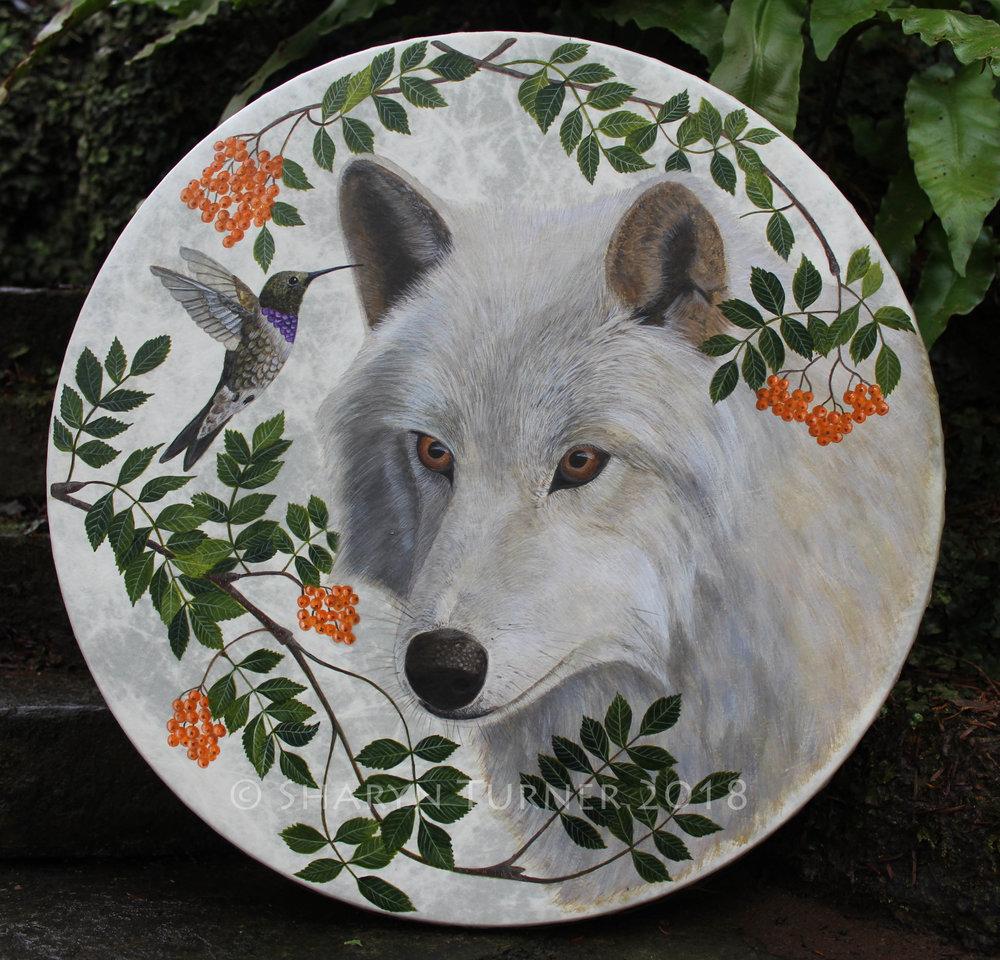 Wolf, Hummingbird & Rowan Drum - Acrylic on Fibreskyn © Sharyn Turner 2018