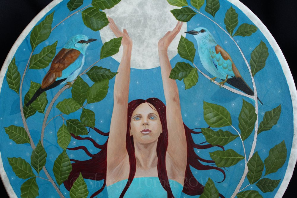 Full Moon Goddess Drum Detail