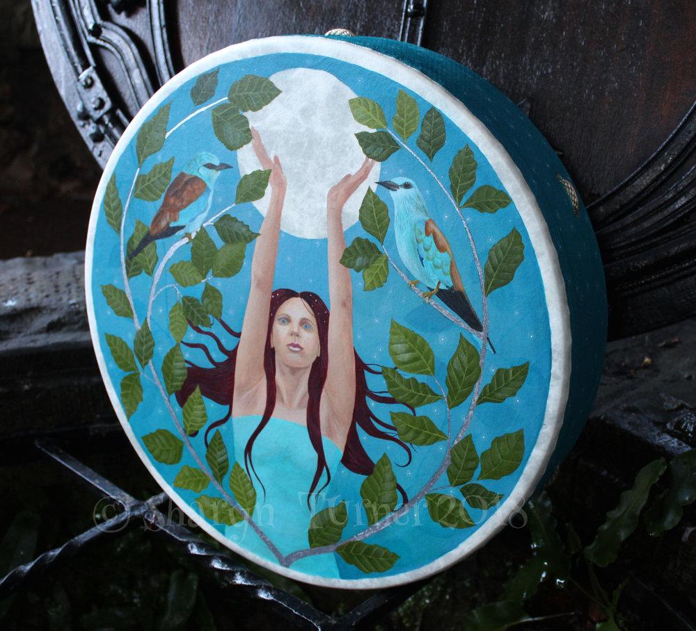 Full Moon Goddess Drum - Acrylic and Silver Leaf on Fibreskyn © Sharyn Turner 2018