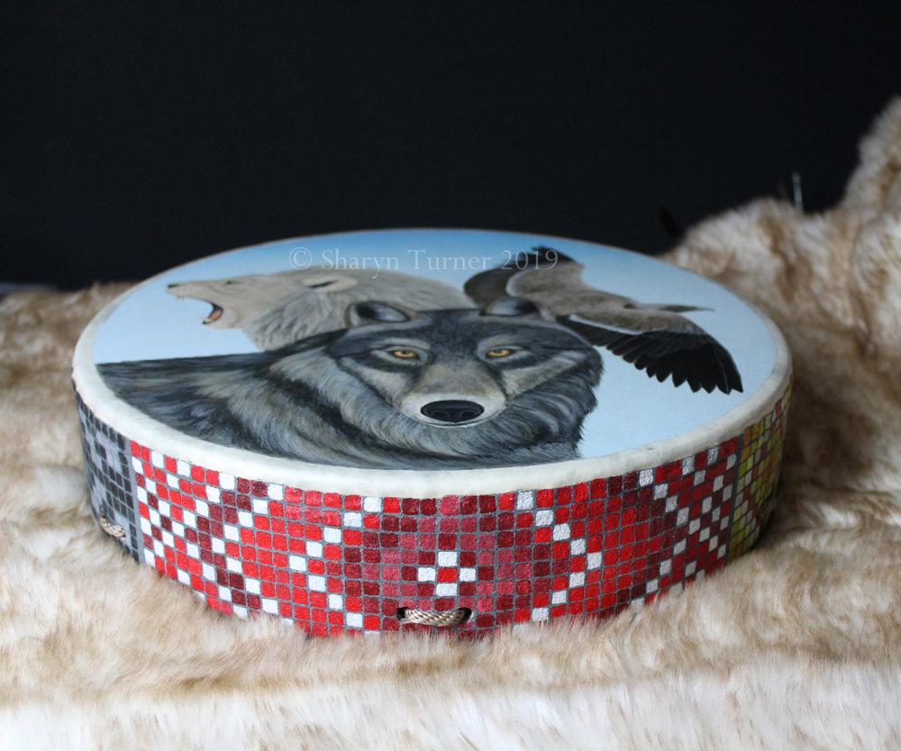 Lakota Medicine Wheel on drum edge