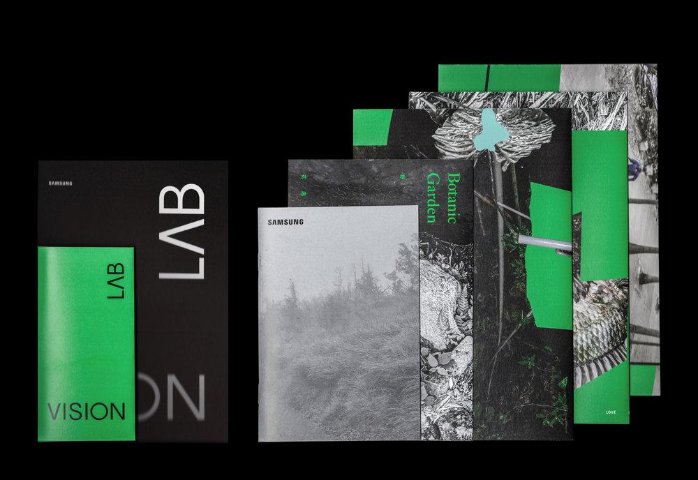 內容物以最外層的cover包夾著展訊與展覽介紹、野花店、野山林、野遊牧、野時尚。(由左至右)