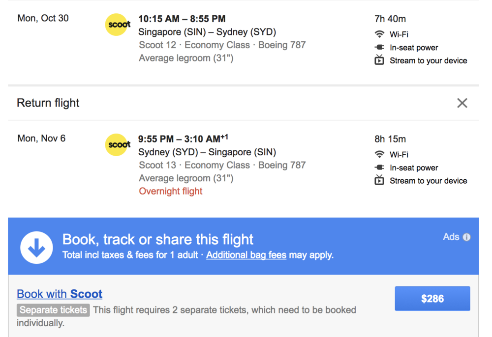 If you've ever wanted to go to Australia - this side trip could be your best bet. Scoot airlines is a Singapore-based entrant in the low-cost long haul game in Asia/Oceania using primarily a fleet of 787 Dreamliners. This side trip from SIN to SYD would be an incredibly cost-efficient way to see another of the world's great cities on this journey.