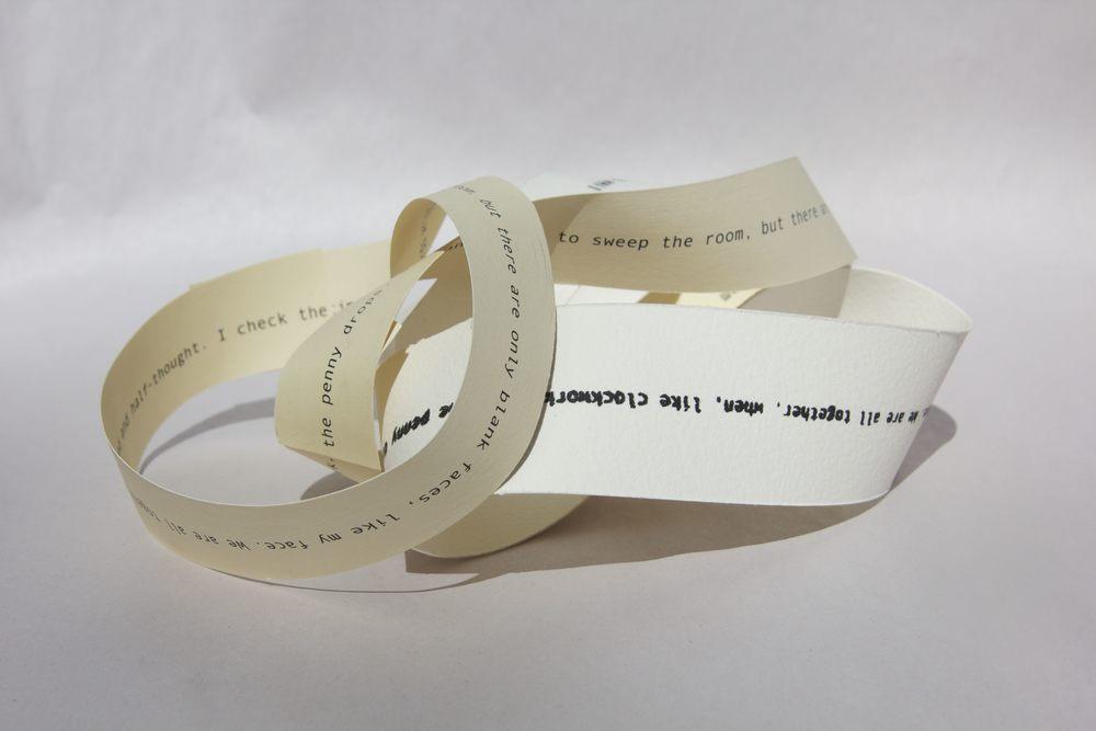 In the loop 2015, single-line mobius poems, screenprint on Hahnemuhle; inkjet on card, dimensions variable.