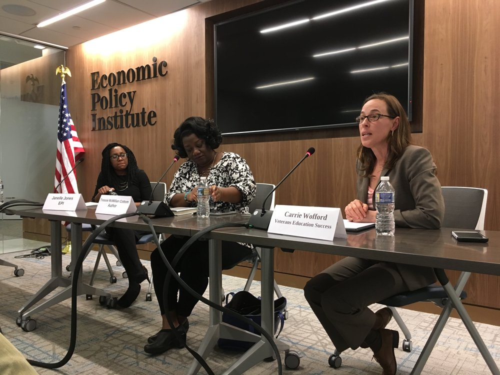 VeS President carrie wofford  discusses labor market changes and risk shifts affecting enrollment in for-profit colleges  at the economic policy institute with Lower-ed author tressie mcmillan Cottom, march 2017