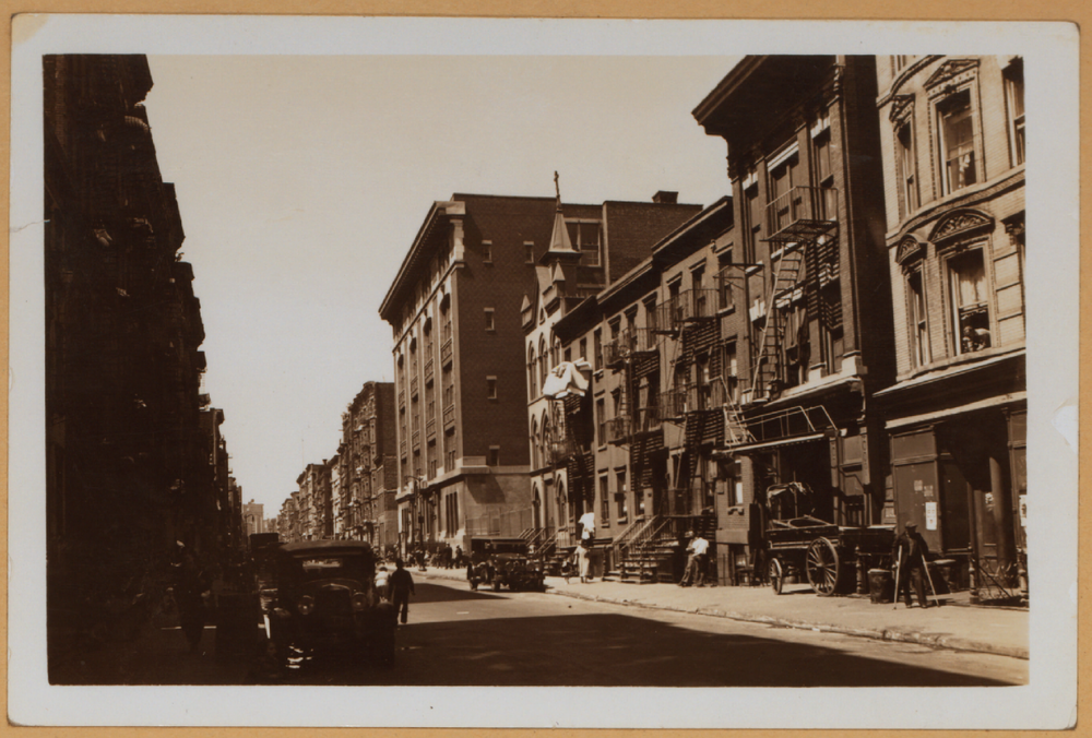 A view of East 4th Street looking west towards Avenue C - April 26, 1935 ( Via NYPL )