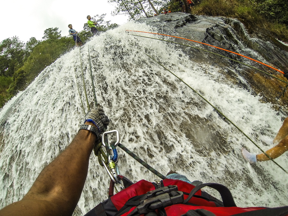 Go Pro with telescopic pole stuck inside my harness, abseiling in Vietnam.