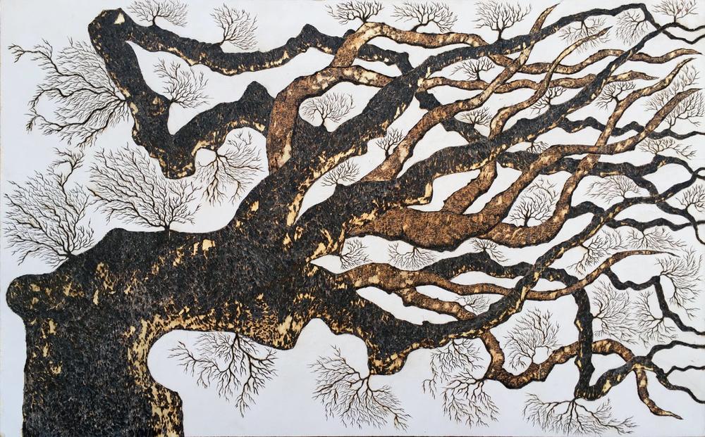 arbre couché 160 x 100 cm