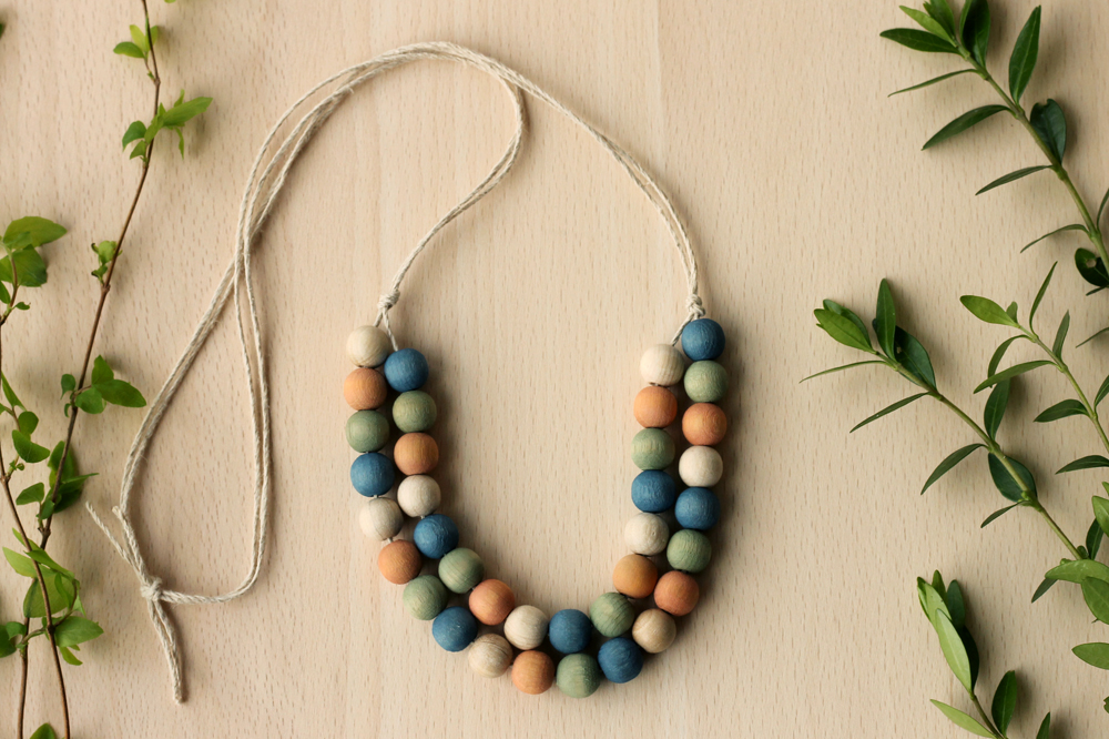 Rebecca Desnos Naturally Plant Indigo Dyed Wooden Beads Multicolour Necklace - 10.jpg