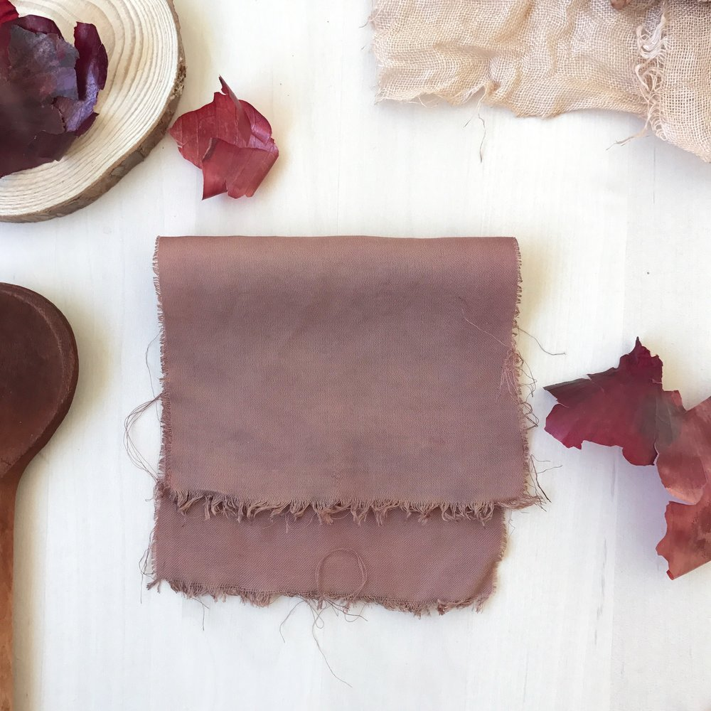 Unmordanted bamboo silk dyed in a concentrated onion skin dye bath (naturally pH 1)