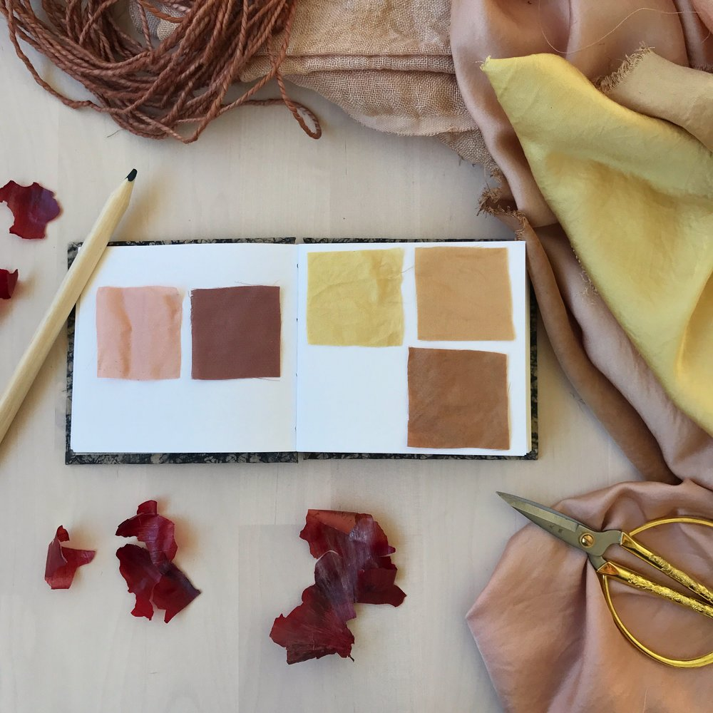 Fabric swatches in my handmade sketchbook from The Eloise Bindery