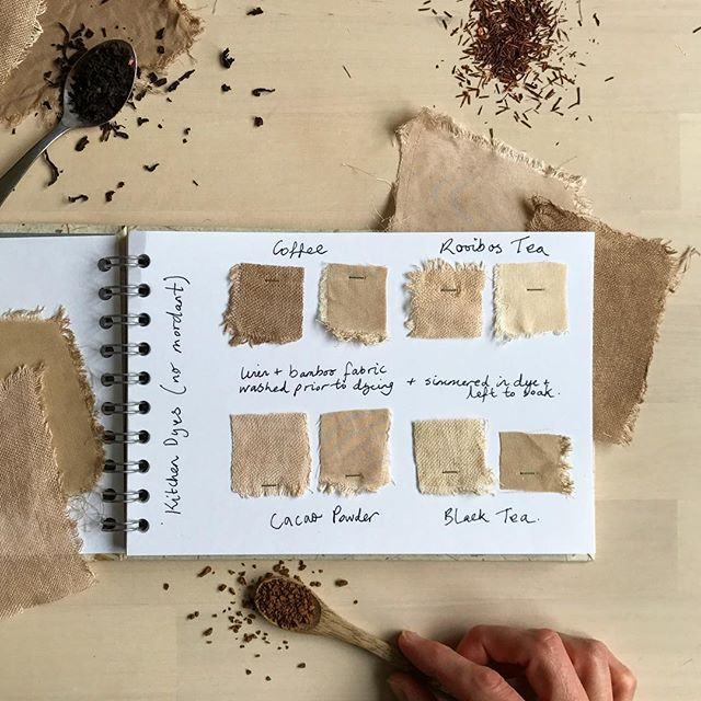 "Simplifying natural dyeing 🍂 That's what I wrote about in my newsletter over the weekend. Did you get it? 💌 You can sign up via the link in my profile (and you'll receive an email with links to my last few newsletters 🌿) ▫️ These fabric samples were dyed with tea, coffee and cacao. I didn't use my usual soya milk method of pretreating fabric, and relied on the tannins alone to bind the dyes. Rooibos is probably the lowest in tannins and has dyed the lightest colour. ▫️ ""Can you dye without a mordant?"" This is one of my most frequently asked question... and yes, you can, but the sneaky thing is that the tannin in the dyes is actually a mordant in its own right 😉 ▫️ Pretreating fabric in soya milk will certainly help produce darker colours, but dyeing with tea and coffee on their own is perfectly fine if you are happy with lighter shades 🍂 And the longer you heat and soak the fabric in the dye, the darker the fabric will dye. ▫️ 🌟Do you ever use this simple dyeing method? 🌟It's a great entry point for someone just beginning, don't you think?"