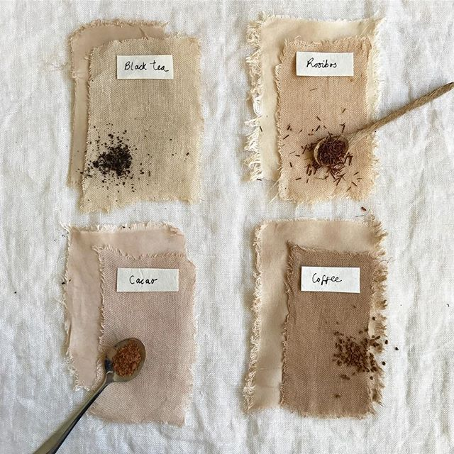 These samples that I dyed a few weeks ago have faired well in the sunlight and haven't noticeably faded. The fabric was simply prewashed and then simmered in various saucepans of tea, coffee and cacao powder. Yes, natural dyeing can be this simple 👏🏽 . The most common question I'm asked is how to make dyes permanent. That's quite a big question and it is the focus of my eBook (Botanical Colour at your Fingertips). In the book I show you how to use soya milk + an aluminium pan to produce long lasting colours. I use those tools in conjunction with slow dyeing methods: on and off heat over a longer period of time is better than one intensive heating session - in my opinion, anyway! . But to begin with an even simpler method, you can try tannin rich plants on their own (without soya milk or any other kind of mordant). . Try tea, and also many other plants contain tannins. Lots of types of leaves, avocado skins/stones, pomegranate skins, many herbs... . There are lots of factors to play around with and the best thing is to just start experimenting! At some point you may decide to approach things differently and carefully scour your fabric and mordant with more conventional techniques. These are all valid dyeing methods 💚 . I'm still slowly dyeing my fabric with lavender leaves.. I told you I like slow dyeing 😉 I'll show you the results in a few days 🌿 . Do you like to keep it simple too?