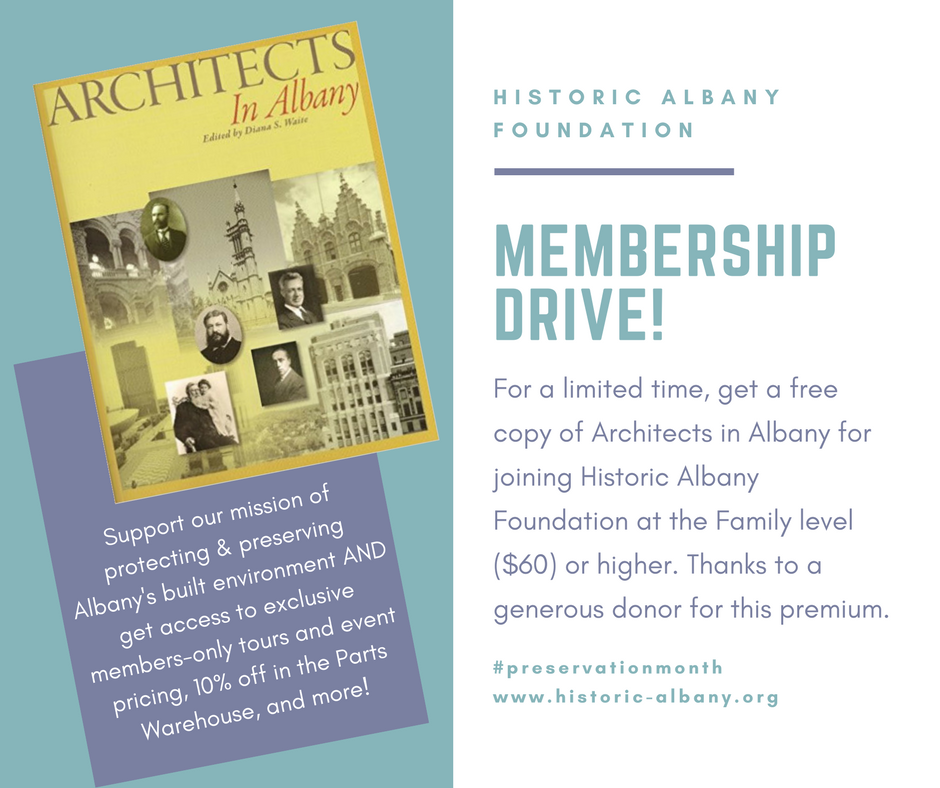 Join today for a free copy of Architects in Albany. - In honor of #preservationmonth! Click the image to the left to join.