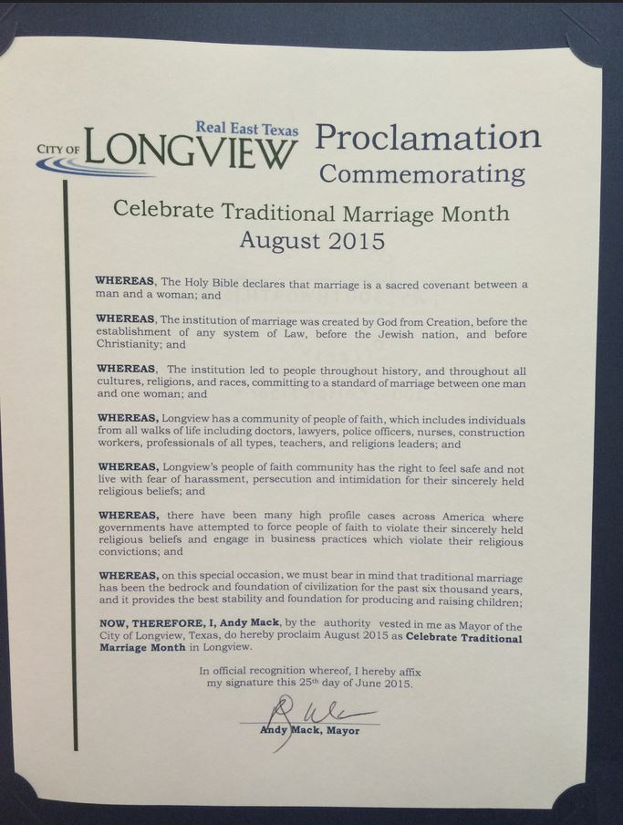 Longview Texas Proclamation