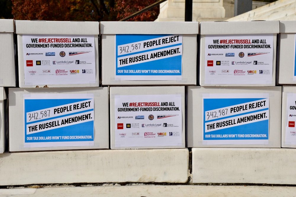 Just some of the many boxes of petitions calling on Congress to reject taxpayer-funded discrimination.
