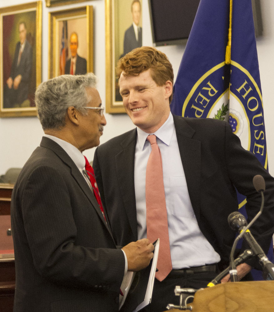 Rep. Bobby Scott and Rep. Joe Kennedy III talk before a press conference to mark the first introduction of the Do No Harm Act in 2016.