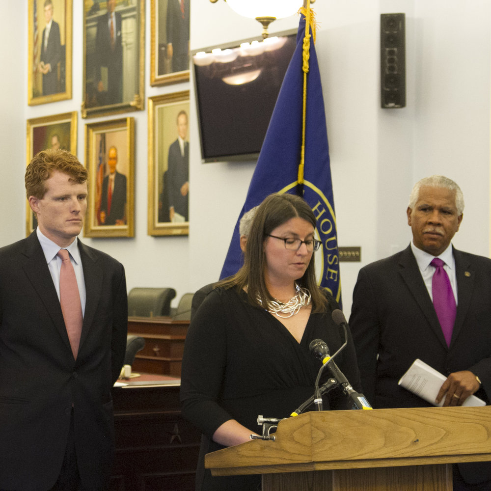 AU Legislative Director Maggie Garrett speaks at a press conference to mark the first introduction of the Do No Harm Act in 2016. Also pictured, Rep. Joe Kennedy III and Hilary O. Shelton, NAACP.