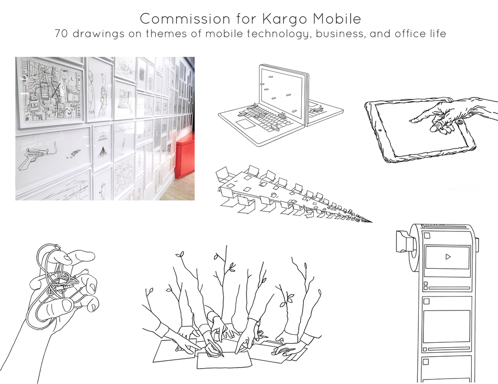 Commission for  Kargo Mobile  - 70 drawings on themes of mobile technology, business, and office life.