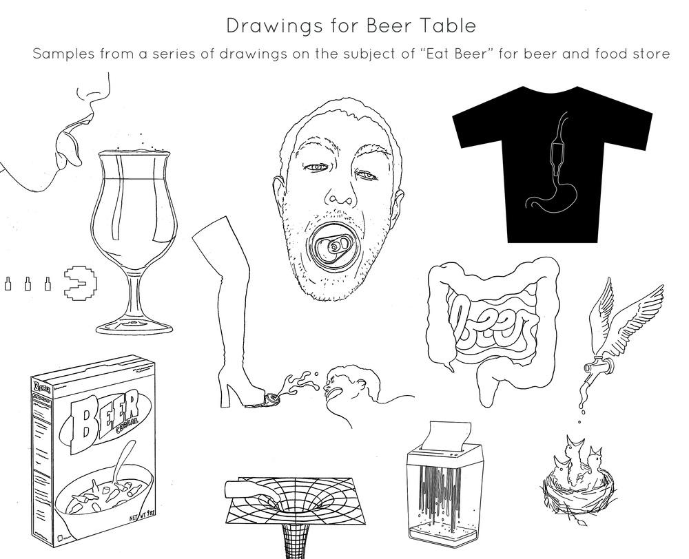 Drawings for  Beer Table , a craft beer purveyor.