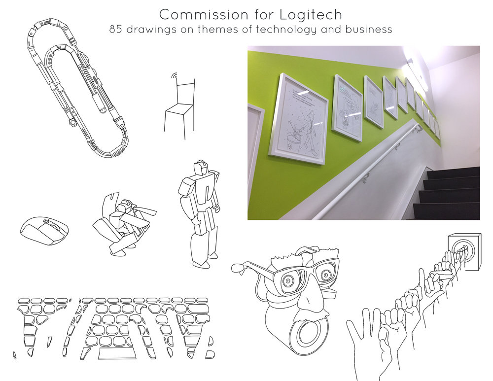 Commission for  Logitech : 85 drawings on themes of technology and business