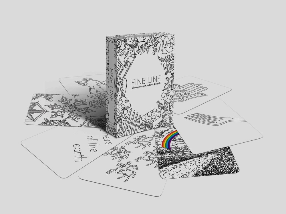 FINE LINE PLAYING CARDS - A deck of playing cards in which the numbers and suits are represented with drawings and phrases