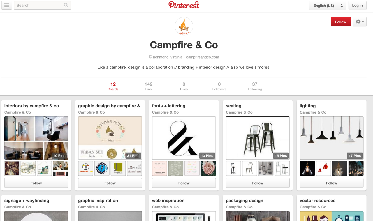 Campfire & Co is officially on pinterest! Follow us for interior + graphic design inspiration! (ok, and maybe some cats and recipes too…) http://www.pinterest.com/campfireandco/