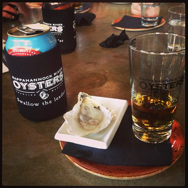 Rye Whiskey, DC pickle juice, Rappahannock Oyster washed down w a Brooklyn Summer Ale. #campfireandco #happyhourwin by 2chaines  http://bit.ly/12PNMYI