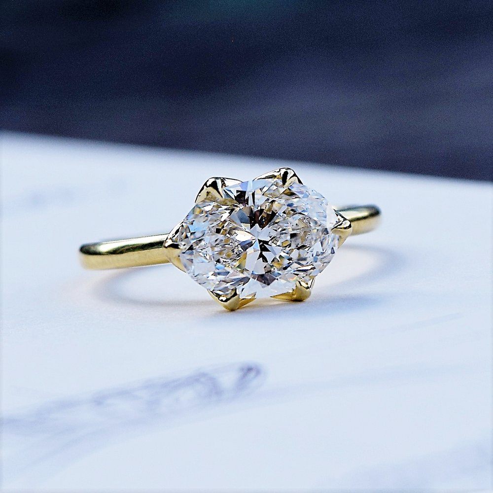 Oval Brilliant Diamond in Yellow Gold Setting