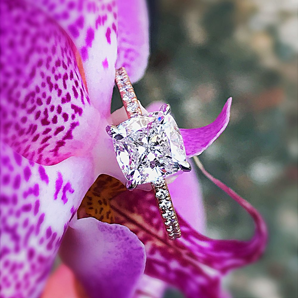 Square Cushion Cut Diamond in Rose Gold Setting