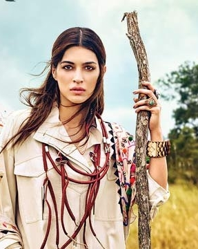 Vogue India April 2017 Bollywood star Kriti Sanon wearing MLH wood cuff