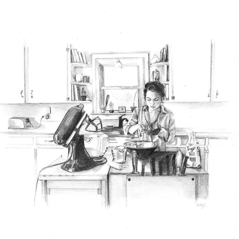 Me in the kitchen. Illustration by my friend Molly Reeder as part of her Kitchen Drawing Series.