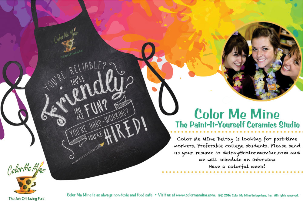 Color Me Mine Now Hiring Delray Marketplace