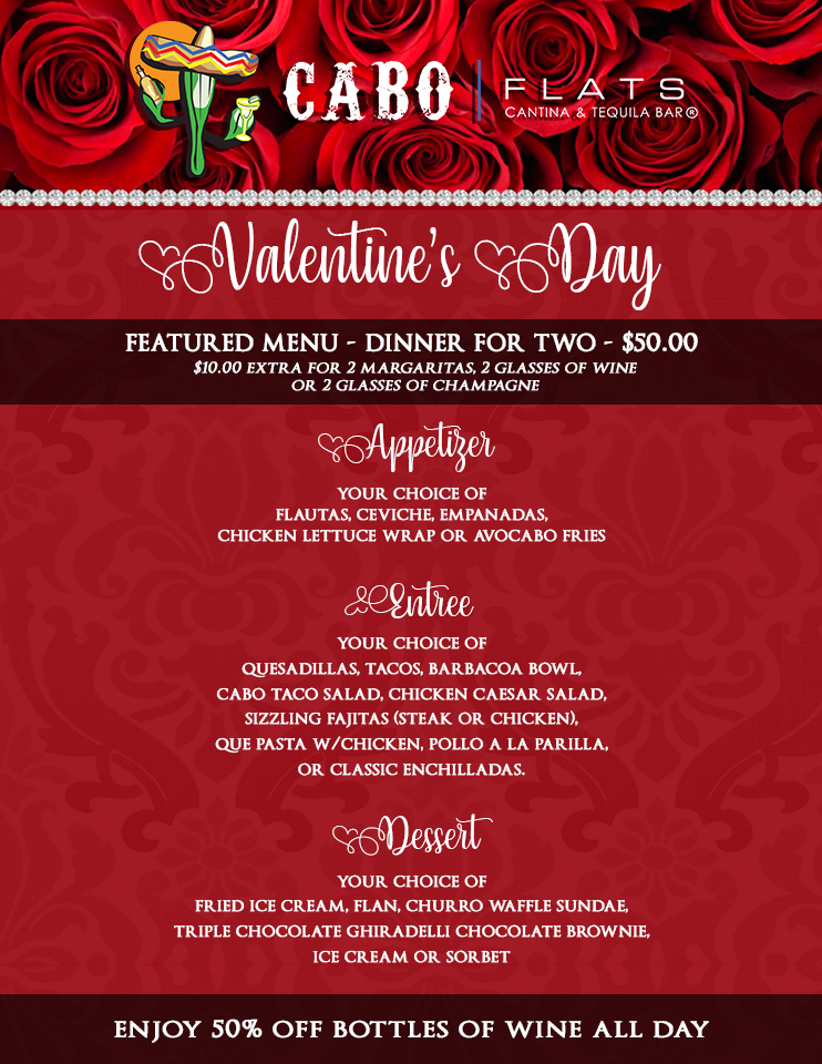 CABO FLATS  - Featured Menu - Dinner for Two - $50