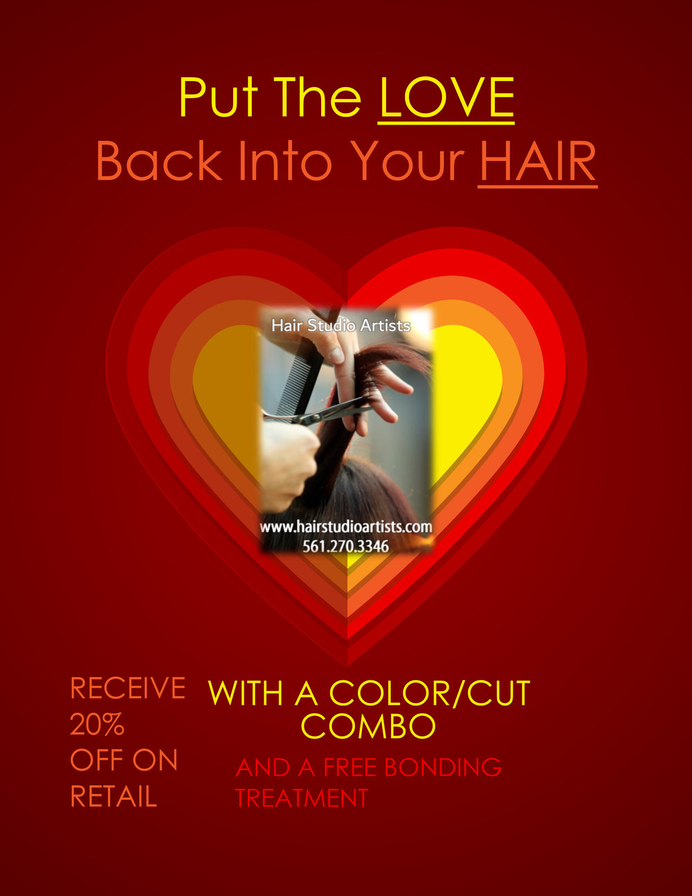 HAIR STUDIO ARTISTS  - Receive 20% Off Retail with a color/cut combo and a free bonding treatment.