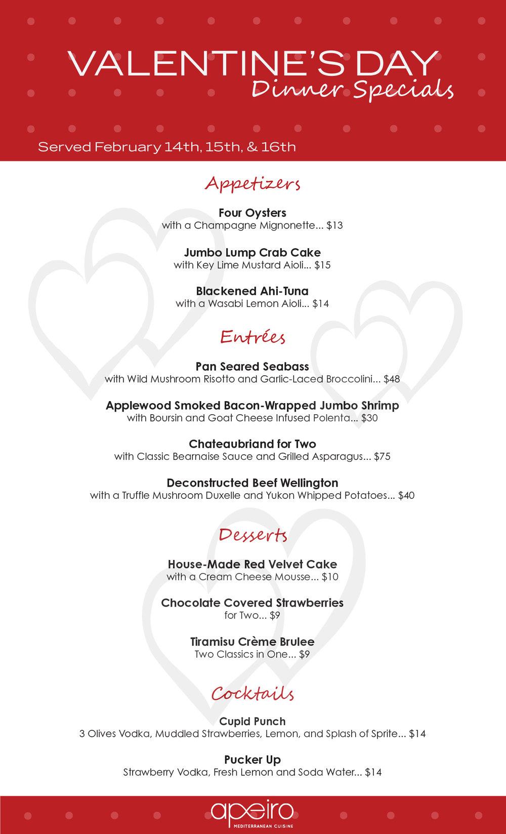 APEIRO MEDITERRANEAN CUISINE  - Valentine's Day Dinner Specials (Served February 14, 15 and 16)