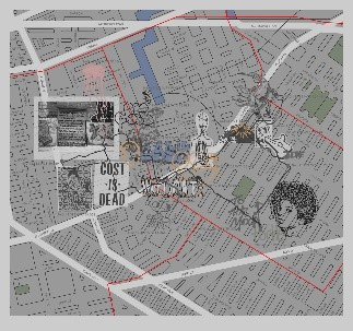 Bundith Phunsombatler ,   Mapping Brooklyn: The Journey as Graffiti_1 (Bushwick Version) , 2015
