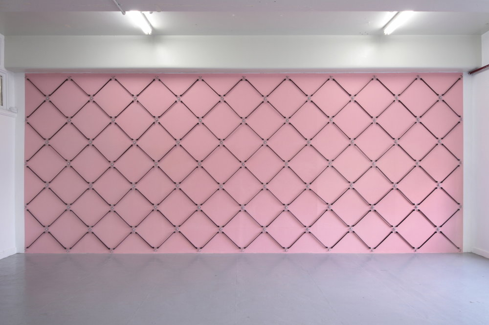 easement , 2012, acrylic paint, rubber octopus straps, 2.7x7m