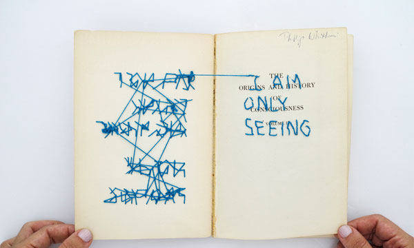 I AM ONLY SEEING, 2013, Embroidery and graphite through book (1960s) on consciousness