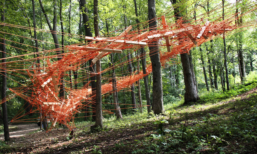 Oval Frontiers , 2016 rope and wood 18×9×4,5m  The Fields Sculpture Park, OMI International Arts Center, NY, USA (cur.: Nicole Hayes)