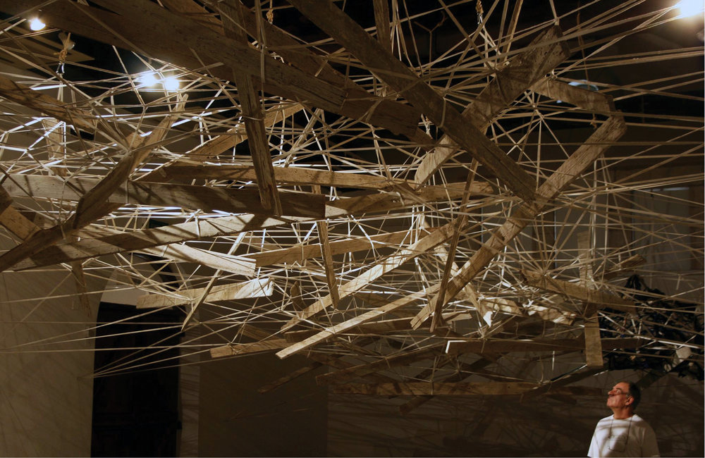 Refuge , 2014 construction woods, strips of clothes & rope 15×7,5×4,5m  No Words, Larnaka Municipal Gallery, Larnaca, Cyprus (cur.: Tonia Loizou)