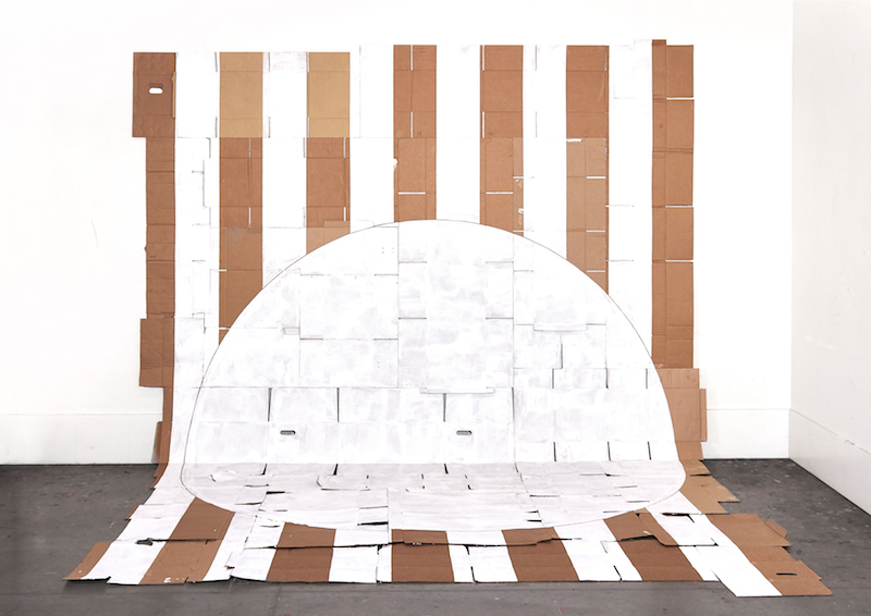 White Moon, White Stripes , 2017, used cardboard and paint