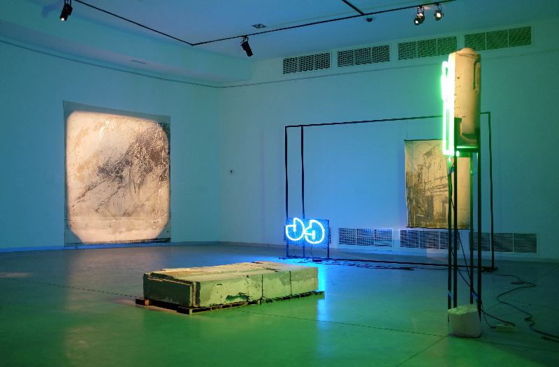 Here, 2017, installation view at The Georgian National Museum,Mestia.  pigmented plaster,painted steel,jacquard vowed tapestry,neon,acrylic on canvas,plywood,resin,silicon.