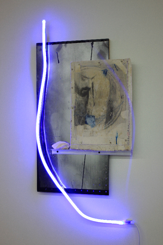 .IMG_1041.RAW (The Color Of The Sky),   2018, charcoal drawing,ink and acrylic paint on pigmented enforced hydrocal,mirrored acetate,masonite,aluminum,pigmented plaster,LED neon,32 x 16 x 2 inch.