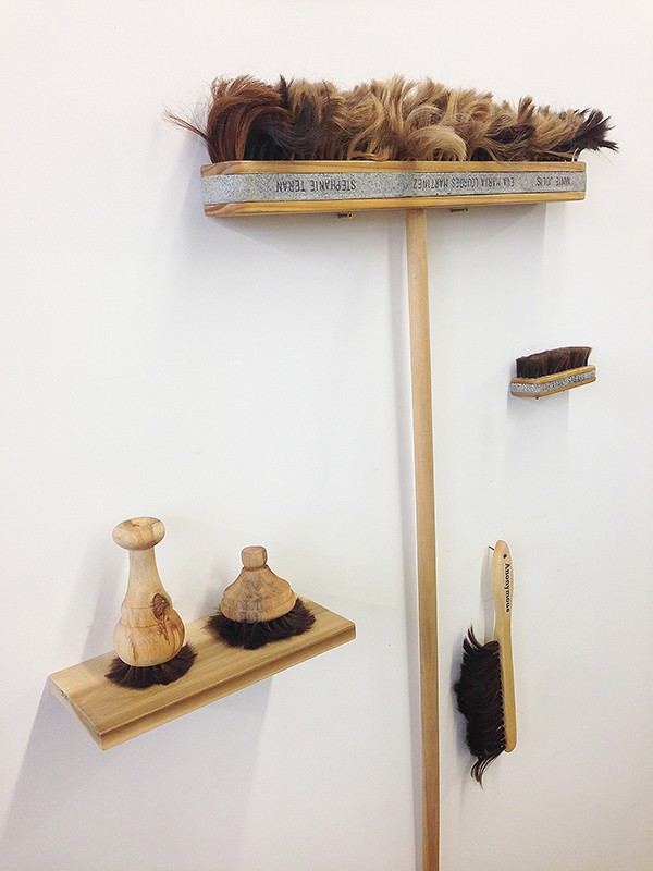 Broom and Brush Project , 2016 - , Human hair, resin, wood, Various dimensions